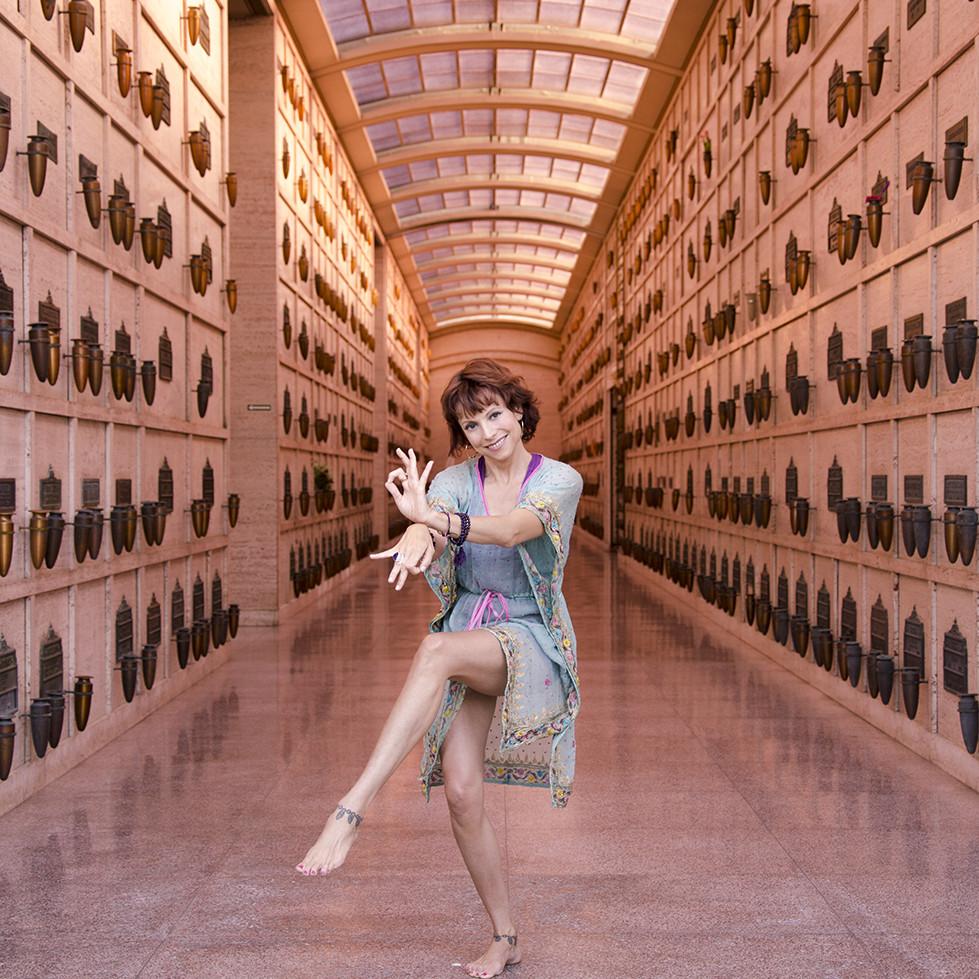 Jeanne Heileman dancing hindu goddess pose yoga teacher hollywood peaceful